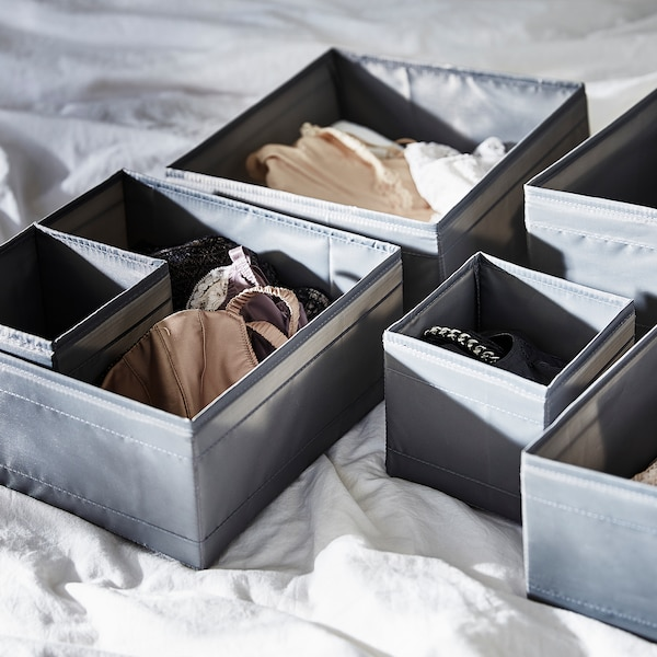 SKUBB Krabice, sada 6 ks, tmavě šedá