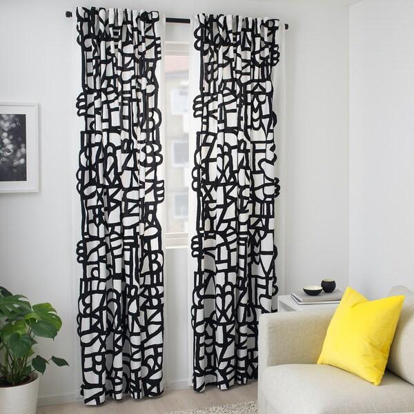 SKUGGBRÄCKA Látka, bílá/černá, 150 cm