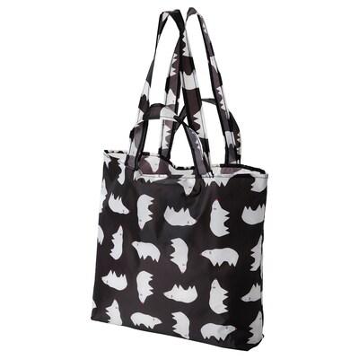 SKYNKE Nákupní taška, černá bílá/vzorováno polární medvěd, 45x36 cm