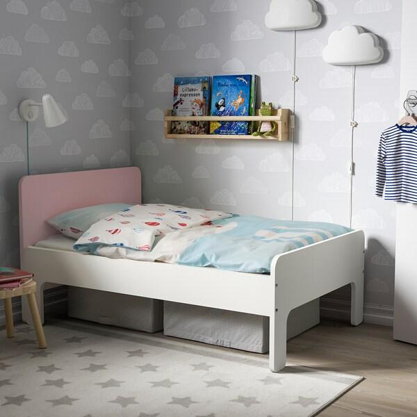 SLÄKT Rám prodl. postele s lamel. roštem, bílá/světle růžová, 80x200 cm