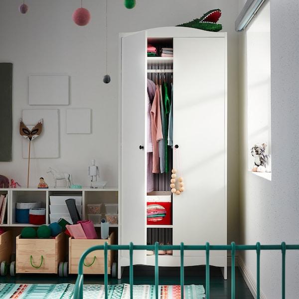 SMÅGÖRA Šatní skříň, bílá, 80x50x187 cm