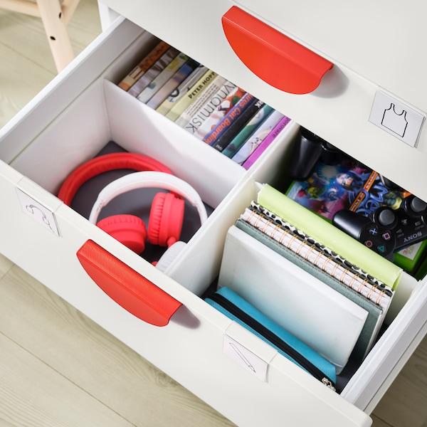 SMÅSTAD / PLATSA Šatní skříň, bílá/bříza se 4 zásuvkami, 60x55x180 cm