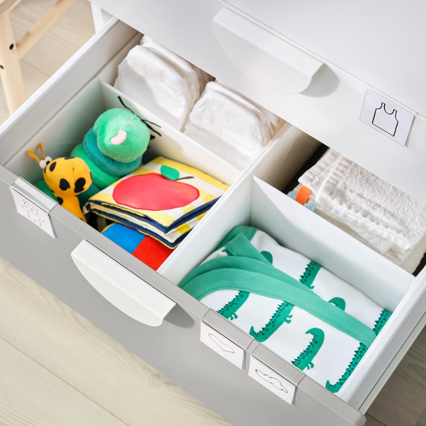 SMÅSTAD Přebalovací stůl, bílá šedá/se 3 zásuvkami, 90x79x100 cm