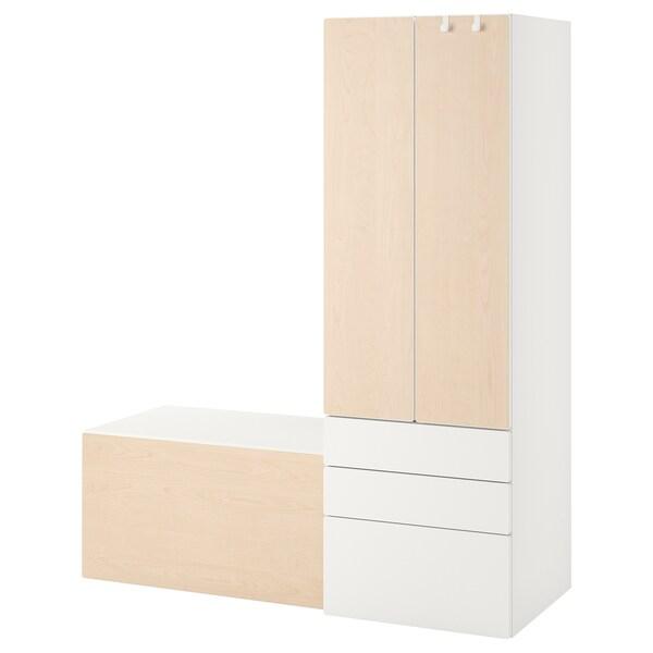 SMÅSTAD Úložná sestava, bílá bříza/s lavicí, 150x57x181 cm