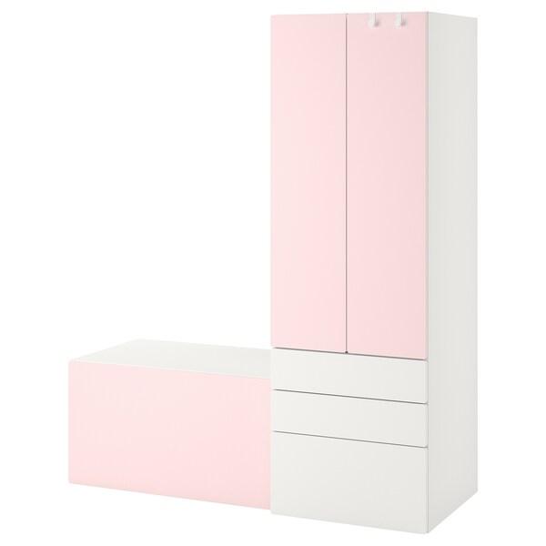 SMÅSTAD Úložná sestava, bílá světle růžová/s lavicí, 150x57x181 cm