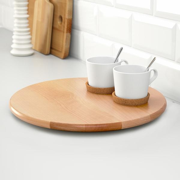 SNUDDA Otočný podnos, masívní dřevo, 39 cm