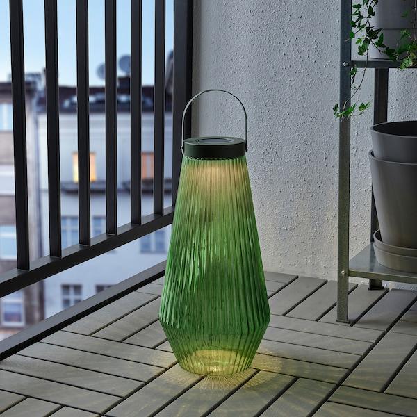 SOLVINDEN solární stojací lampa LED venkovní/sklo zelená 21 cm 42 cm
