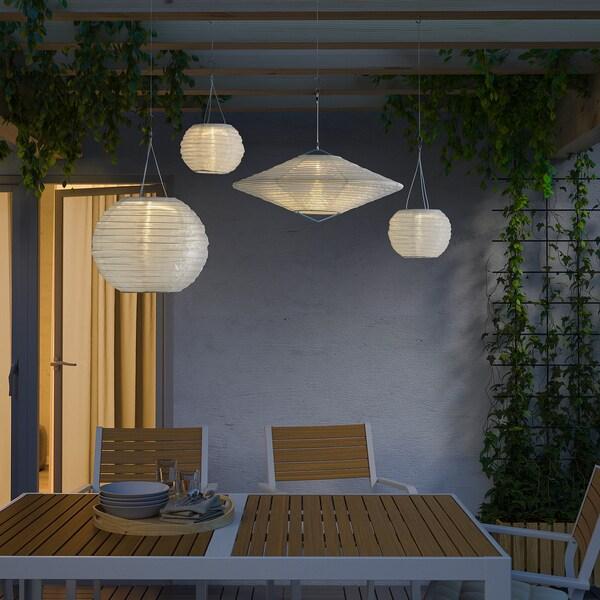 SOLVINDEN Solární závěsná lampa LED, venkovní kulatá/tvar diamantu, 45 cm