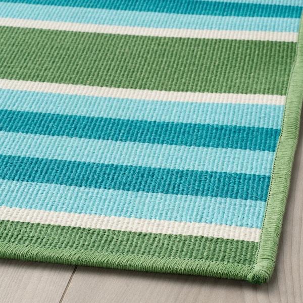 SOMMAR 2020 hladce tkaný koberec, vn./venk. proužky/zelená/bílá 240 cm 170 cm 2 mm 4.08 m² 800 g/m²