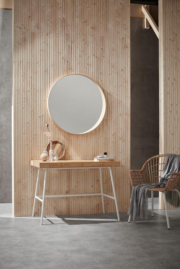 STOCKHOLM Zrcadlo, dýha jasan, 80 cm