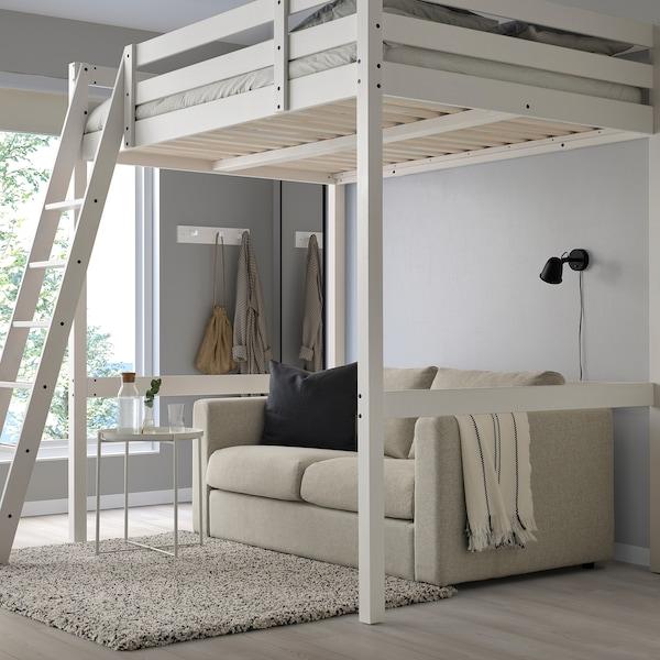 STORÅ Rám vysoké postele, bílé mořidlo, 140x200 cm