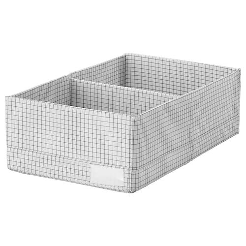 STUK krabice s přihrádkami bílá/šedá 20 cm 34 cm 10 cm