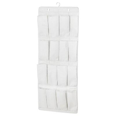STUK Závěsný botník, 16 kapes, bílá/šedá, 51x140 cm