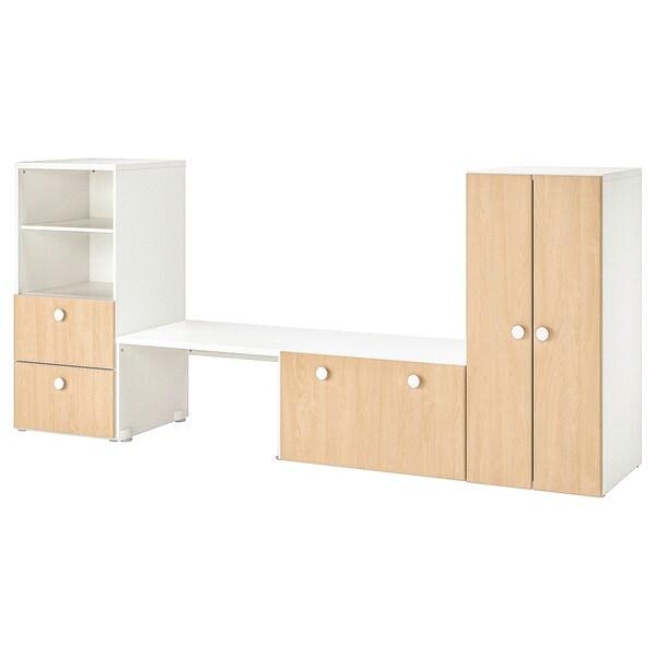 STUVA / FÖLJA Úložná sestava s lavicí, bílá/bříza, 300x50x128 cm