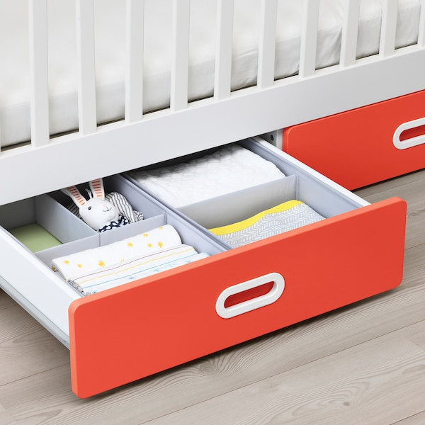 STUVA / FRITIDS dětská postýlka se zásuvkami červená 126 cm 66 cm 86 cm 60 cm 120 cm 20 kg