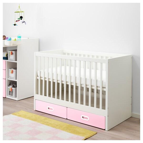 STUVA / FRITIDS Dětská postýlka se zásuvkami, světle růžová, 60x120 cm