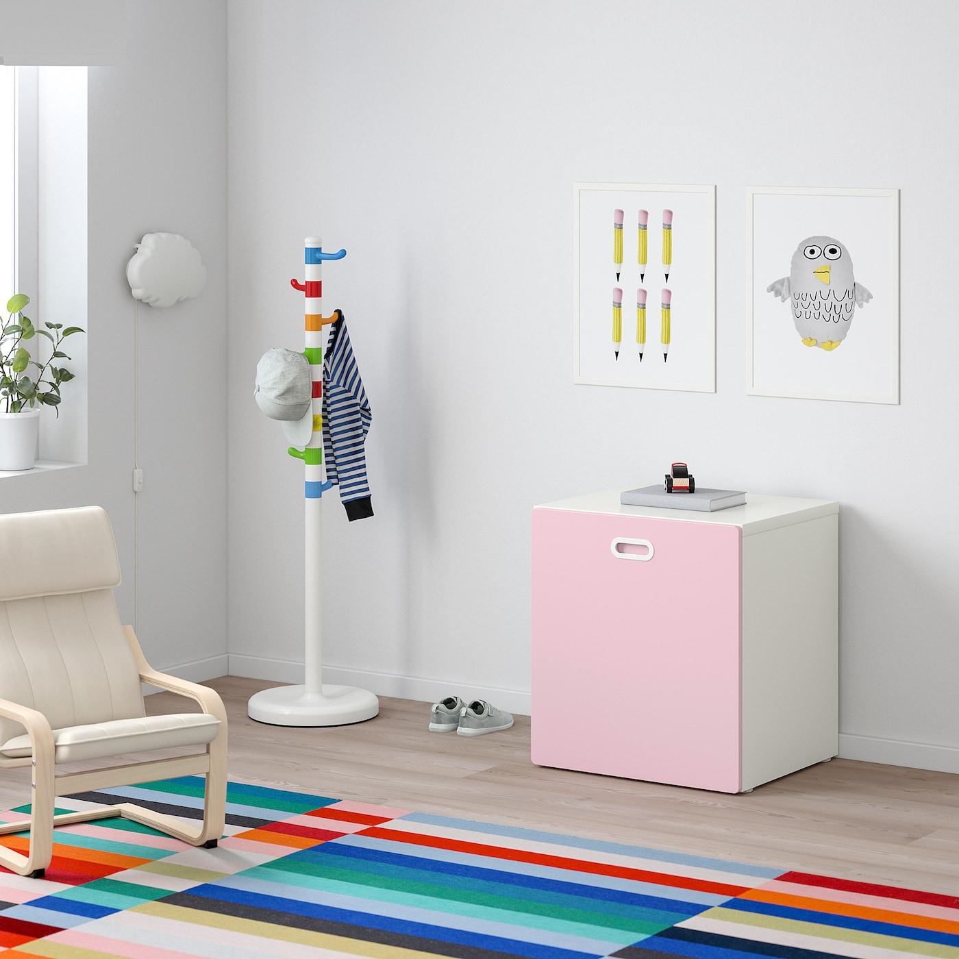STUVA / FRITIDS Úložný prostor na hračky s kolečky, bílá/světle růžová, 60x50x64 cm
