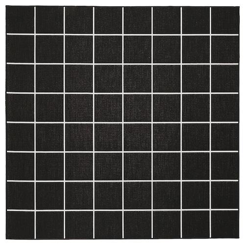 SVALLERUP hladce tkaný koberec, vn./venk. černá/bílá 200 cm 200 cm 5 mm 4.00 m² 1555 g/m²