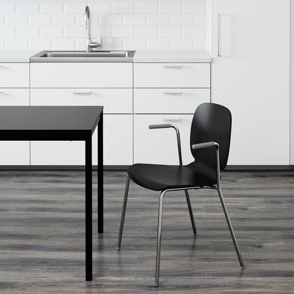 SVENBERTIL Židle s područkami, černá/Dietmar pochromované
