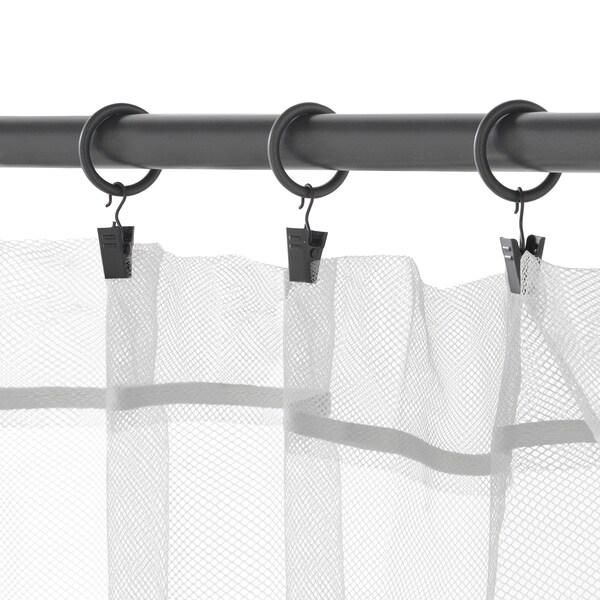 SYRLIG Kroužek+klips a háček na závěsy, stříbrná, 25 mm