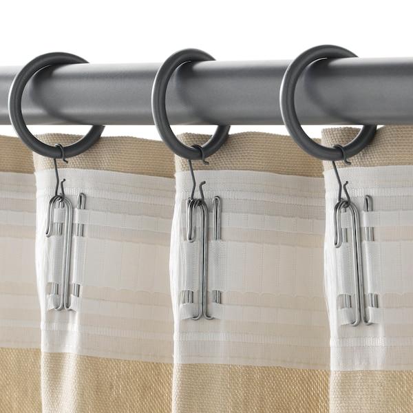 SYRLIG Kroužek+klips a háček na závěsy, stříbrná, 38 mm