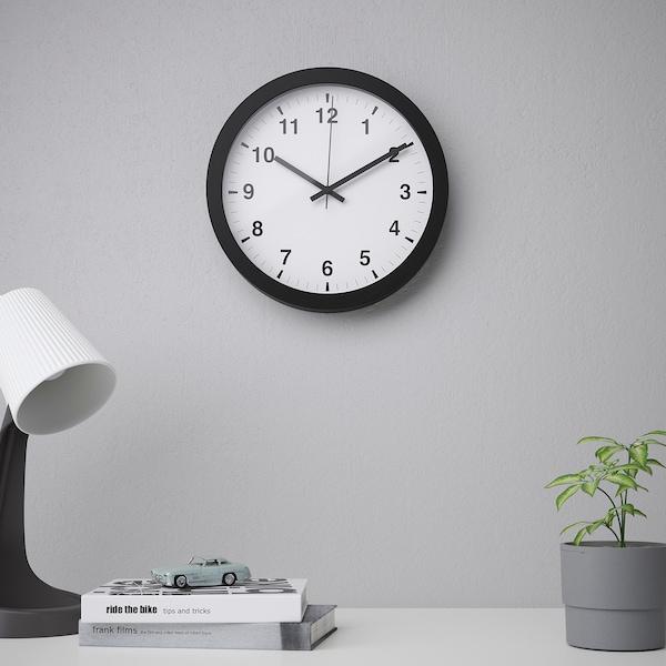 TJALLA Nástěnné hodiny, černá, 28 cm