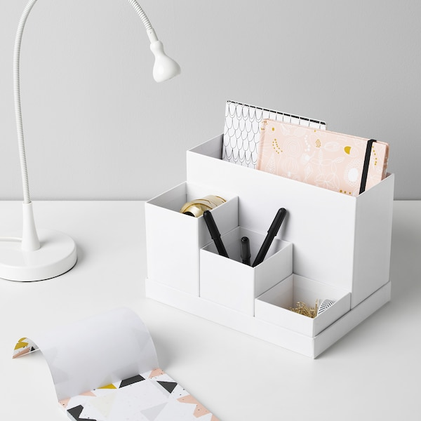 TJENA Stojan na kancelářské potřeby, bílá, 18x17 cm