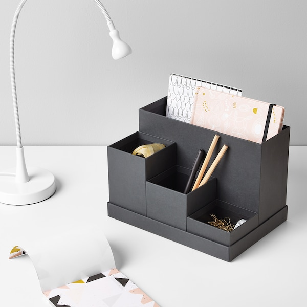 TJENA Stojan na kancelářské potřeby, černá, 18x17 cm