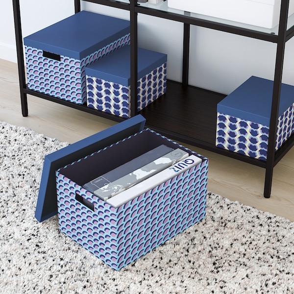 TJENA krabice s víkem modrá/barevná 35 cm 25 cm 20 cm
