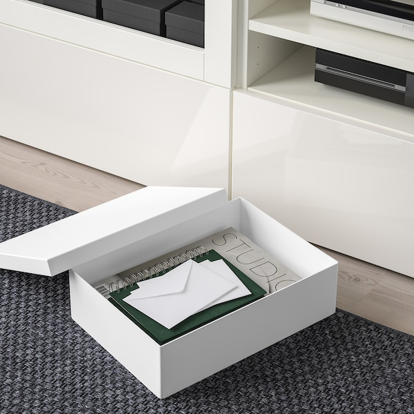 TJENA Úložná krabice s víkem, bílá, 25x35x10 cm
