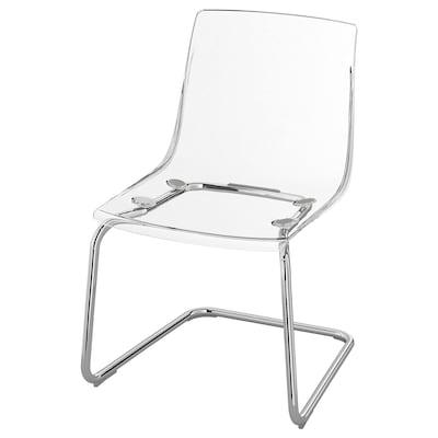 TOBIAS Židle, transparentní/pochromované