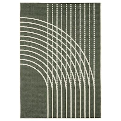 TÖMMERBY Hladce tkaný koberec, vn./venk., tm.zelená/krémová, 160x230 cm