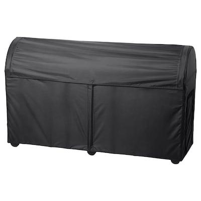 TOSTERÖ Úložná krabice, venkovní, černá, 129x44x79 cm