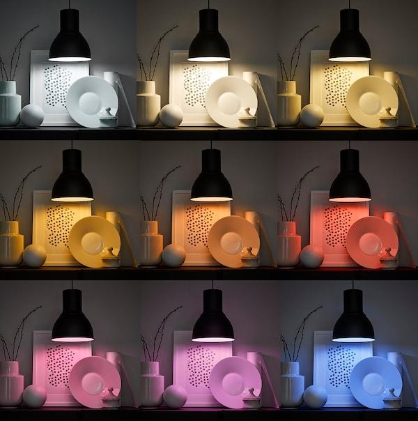TRÅDFRI Žárovka LED, E14, 470 lumenů, bezdrátové, stmívatelné barevné a bílé spektrum/kulatá opálově bílá