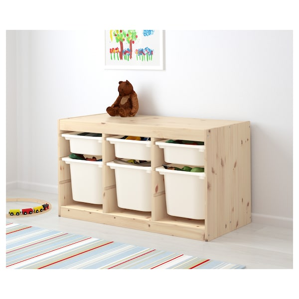 TROFAST úlož. sestava s krabicemi světle mořená borovice/bílá 94 cm 44 cm 52 cm