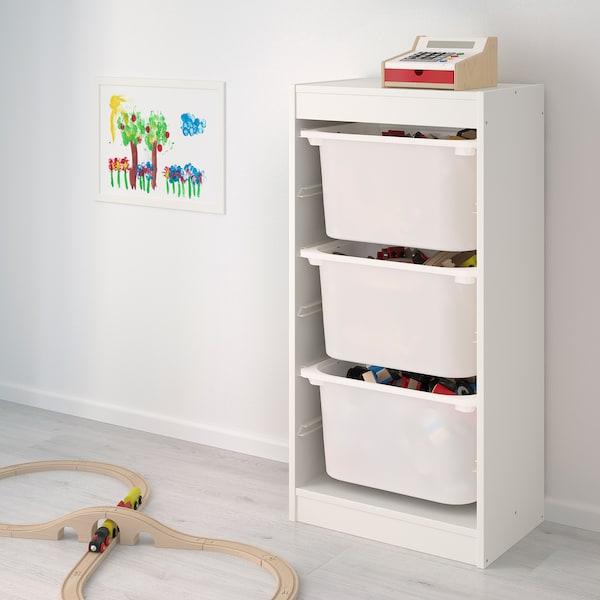 TROFAST úlož. sestava s krabicemi bílá/bílá tyrkysová 46 cm 30 cm 94 cm