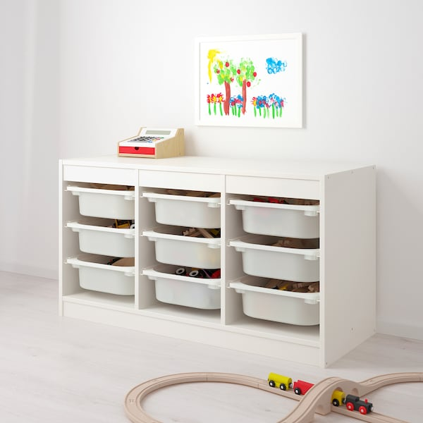 TROFAST Úlož. sestava s krabicemi, bílá/růžová, 99x44x56 cm