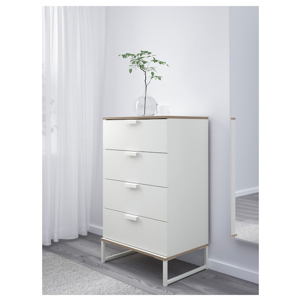 TRYSIL Komoda se 4 zásuvkami, bílá/světle šedá, 60x99 cm