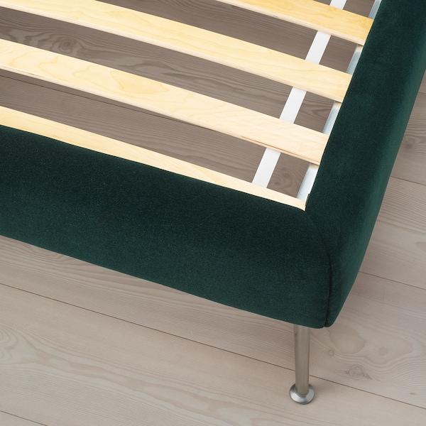 TUFJORD Čalouněný rám postele, Djuparp tm.zelená, 160x200 cm