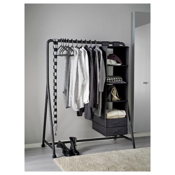 TURBO Šatní stojan, vnitř./venk., černá, 117x59 cm