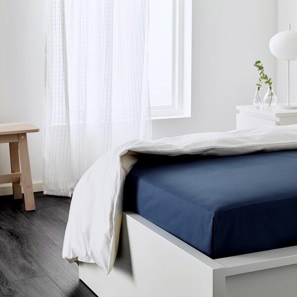 ULLVIDE prostěradlo tm.modrá 200 Palec²  260 cm 150 cm