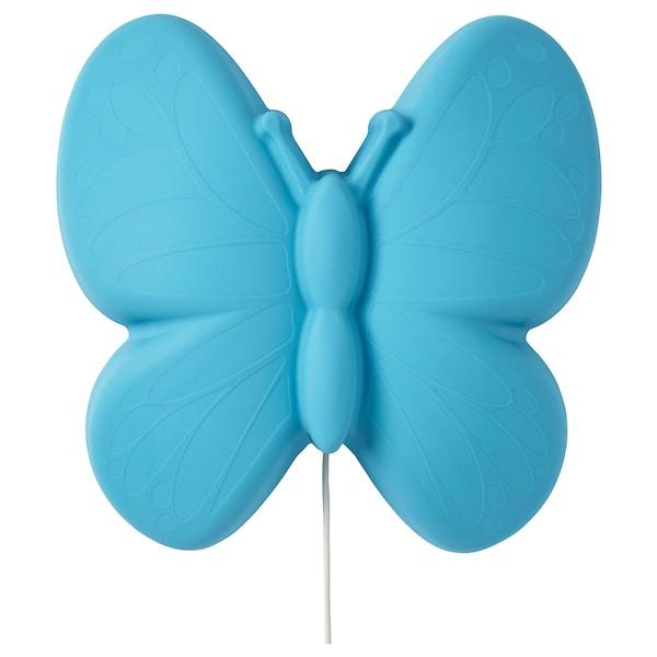 UPPLYST nástěnná lampa LED motýl sv.modrá 110 lm 28 cm 9 cm 27 cm 2.0 m 1.6 W