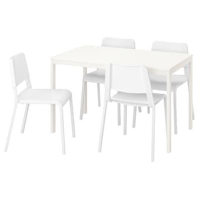 VANGSTA / TEODORES stůl a 4 židle bílá/bílá 120 cm 180 cm