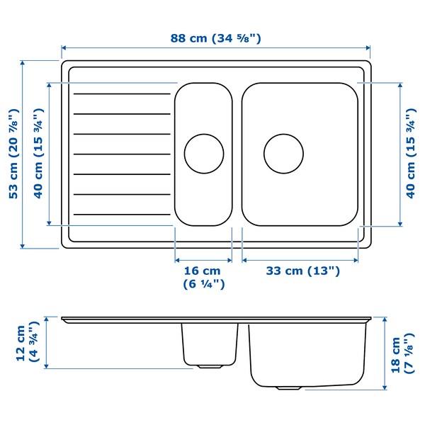 VATTUDALEN vest. 1 ½ dřez s odkapávačem nerezavějící ocel 51 cm 86 cm 18 cm 33 cm 40 cm 18.0 l 12 cm 16 cm 40 cm 5.0 l 53.1 cm 88.0 cm 53.1 cm