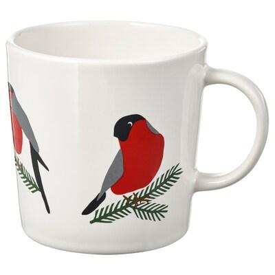 VINTER 2021 Hrnek, vzor ptáčci bílá/červená, 30 cl