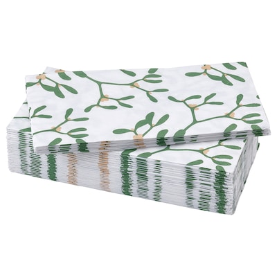 VINTER 2021 Papírové ubrousky, vzor se jmelím bílá/zelená, 38x38 cm