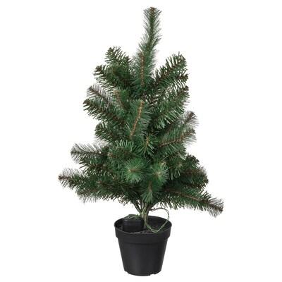 VINTER 2021 Umělá rostlina s osv. LED, v květ., na baterie/vánoční stromek zelená, 12 cm