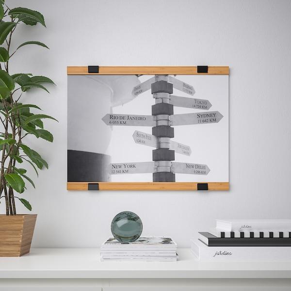 VISBÄCK sada na zavěšení plakátu bambus 61 cm 3 cm