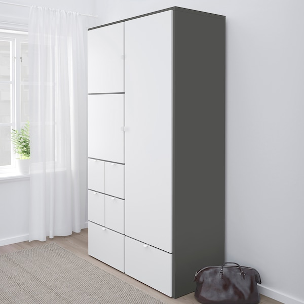VISTHUS šatní skříň šedá/bílá 122.0 cm 59.0 cm 216.0 cm