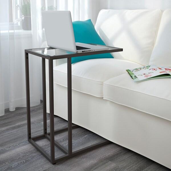 VITTSJÖ stojan na laptop černohnědá/sklo 35 cm 55 cm 65 cm 15 kg